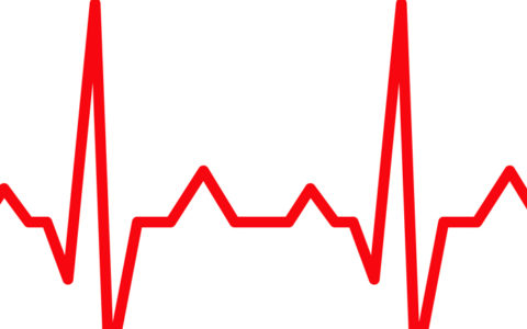 irregular heartbeat red ekg line that becomes a heart shape