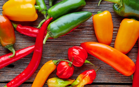 array of colorful spice hot peppers loaded with health benefits