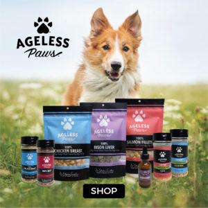 Herding dog running in field toward Ageless paws single ingredient freeze dried healthy treats, meal toppers and supplements for dogs and cats